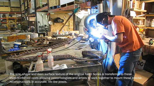 Welding fossil skeleton armatures